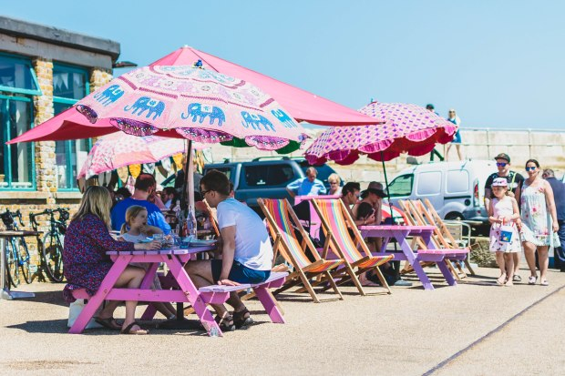 Brightly coloured parasols and deck chairs at BeBeached