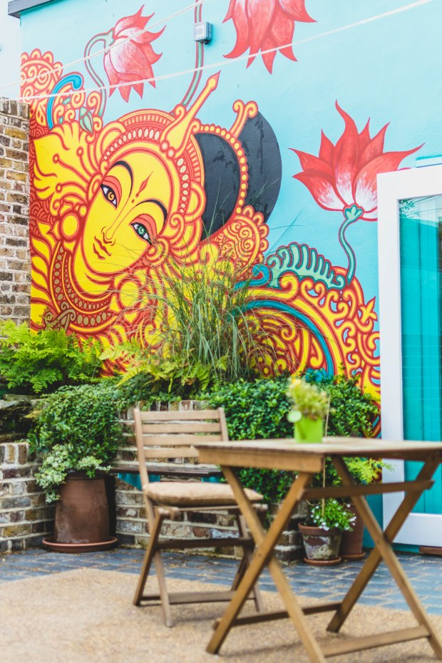 Brightly coloured murals at Beet Bar Margate